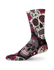 Pink Diamonds Skull Crew Socks