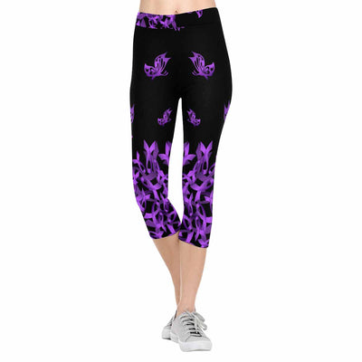 Lupus Awareness Falling Ribbon 3/4 Capri Leggings