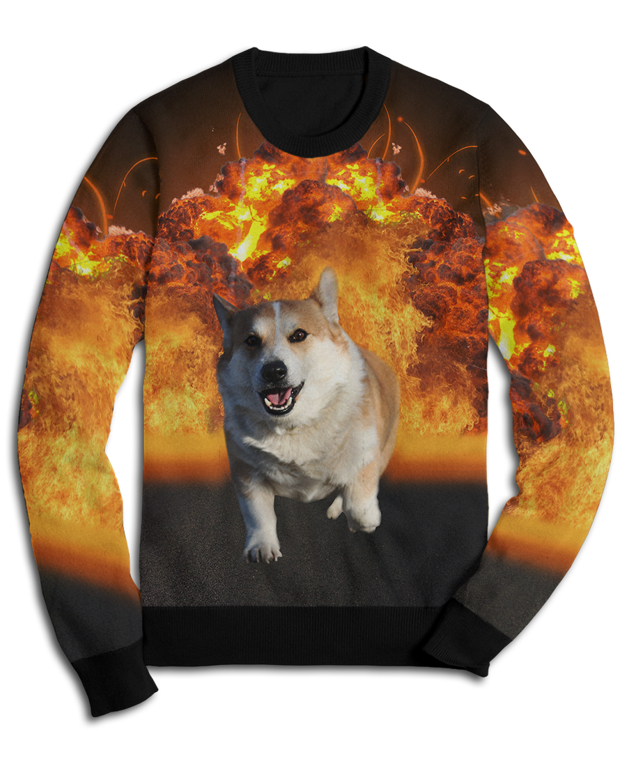 9e2ac51d Badass Corgi Doesn't Look At Explosions Fleece Sweatshirt – Brave ...