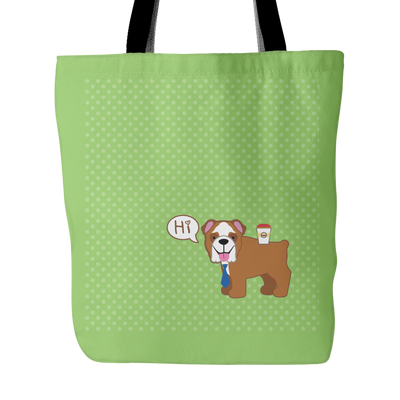 Colorful Bulldog Polka Tote Bag