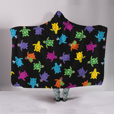 Colorful Sea Turtle Hooded Blanket
