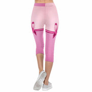 Breast cancer Ribbon Knee Highs 3/4 Capri Leggings