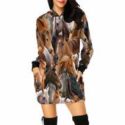Horses on Horses on Horses All-Over Print Hoodie Mini Dress