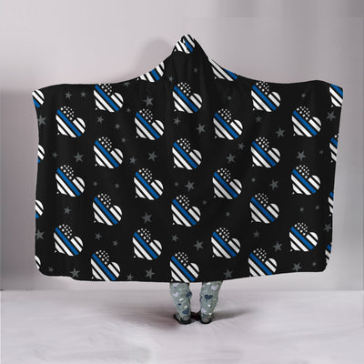 Thin Blue Line Hearts Hooded Blanket