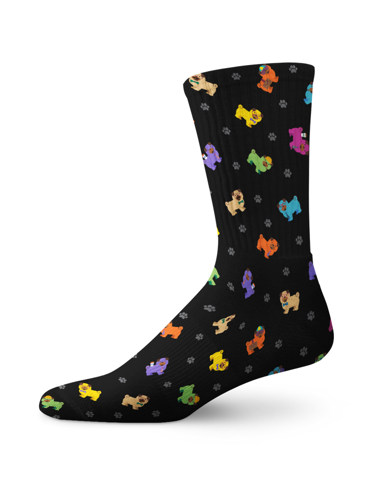 Colorful Pug Crew Socks