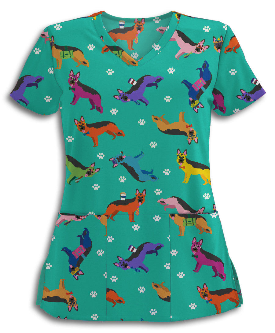Colorful Hip German Shepherds Scrub Top