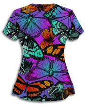 Neon Butterflies Scrub Top