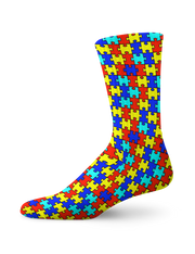 Autism Awareness Puzzle Print Crew Socks