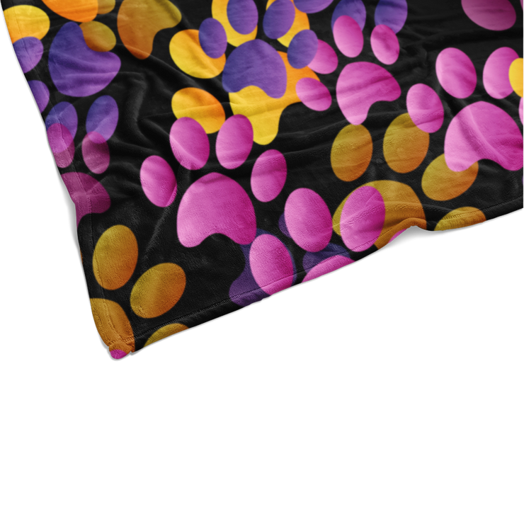 Purple Flying Paw Prints Fleece Blanket
