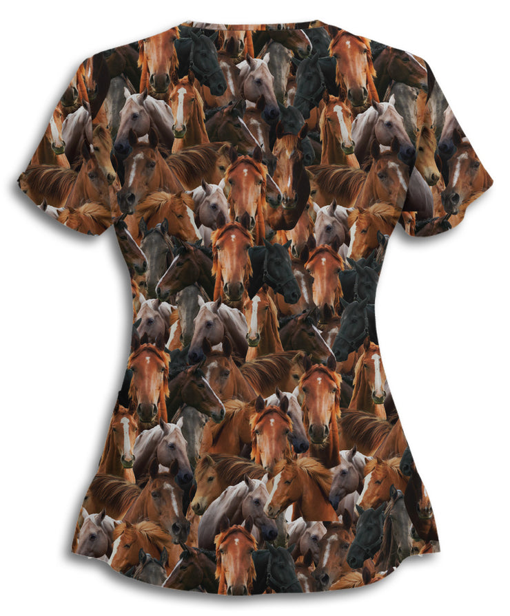 Horses on Horses on Horses Scrub Top