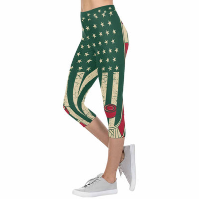 Minnesota Hockey Flag 3/4 Capri Leggings