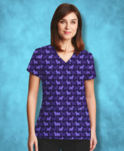 Purple Yorkies Scrub Top