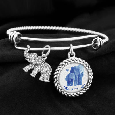 Watercolor Elephants Charm Bracelet