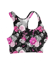 Floral Breast Cancer Ribbons Sports Bra