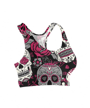 Day of the Dead Pink & Grey Diamond Sugar Skulls Sports Bra