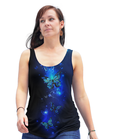 Shining Blue Butterfly Racerback Tank Top