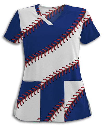 Chicago Baseball Stitches Scrub Top