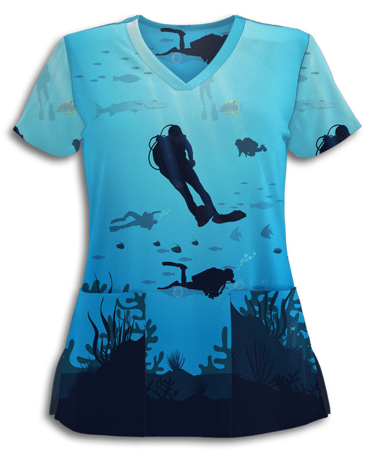 Under The Sea Scuba Scrub Top