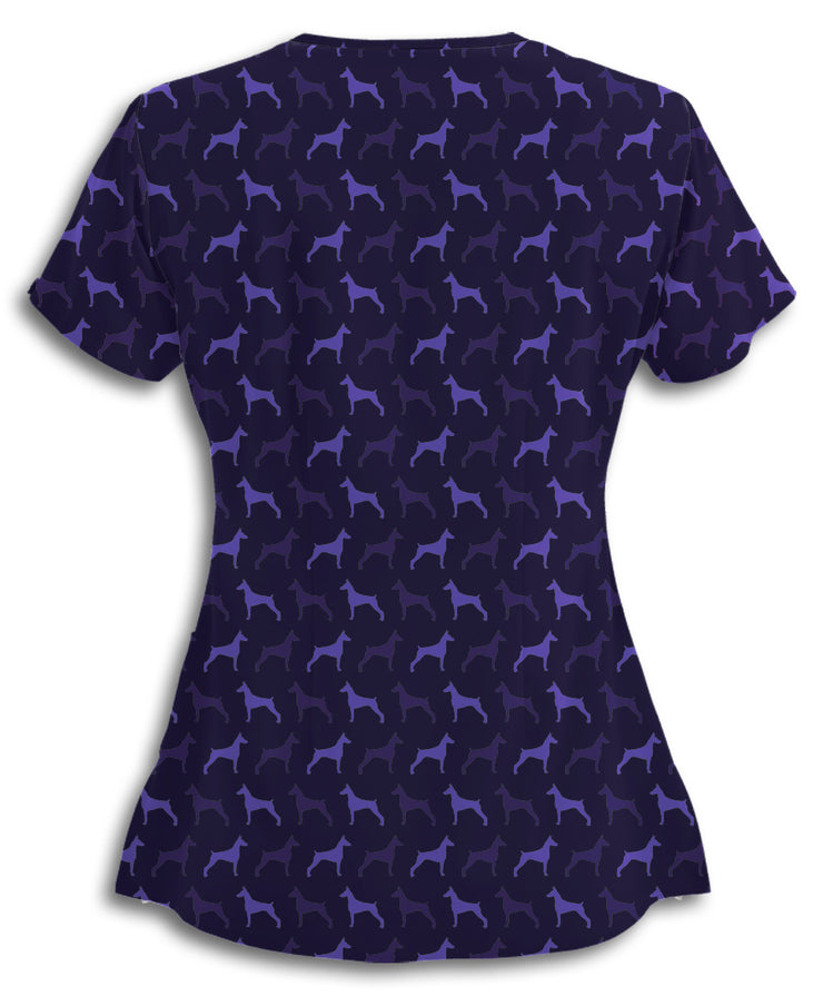 Purple Dobermans Scrub Top
