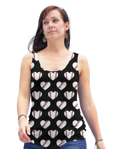 Heart Baseball Pattern Racerback Tank Top
