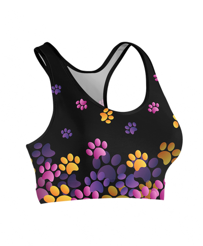 Pink & Purple Flying Paw Prints Sports Bra