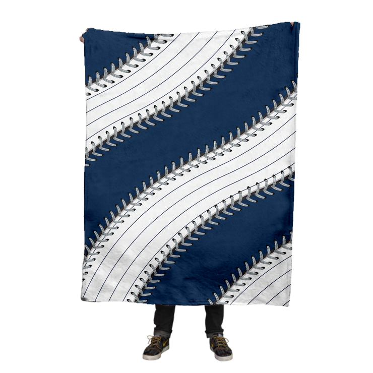 New York Pinstripe Ball Stitch Fleece Blanket