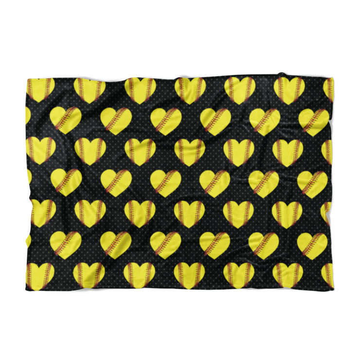 Softball Heart Pattern Fleece Blanket