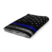 Police Officer Thin Blue Line Fleece Blanket