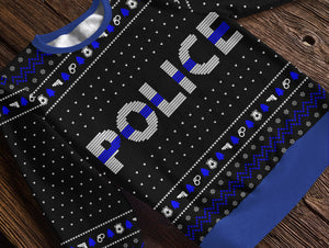 Thin Blue Line Police Holiday Fleece Sweatshirt