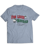 "For Lease Navidad Holiday Inspired Light Blue Men's Tee. Christmas themed mens tee with ""For Lease Navidad"" red and green printed design."