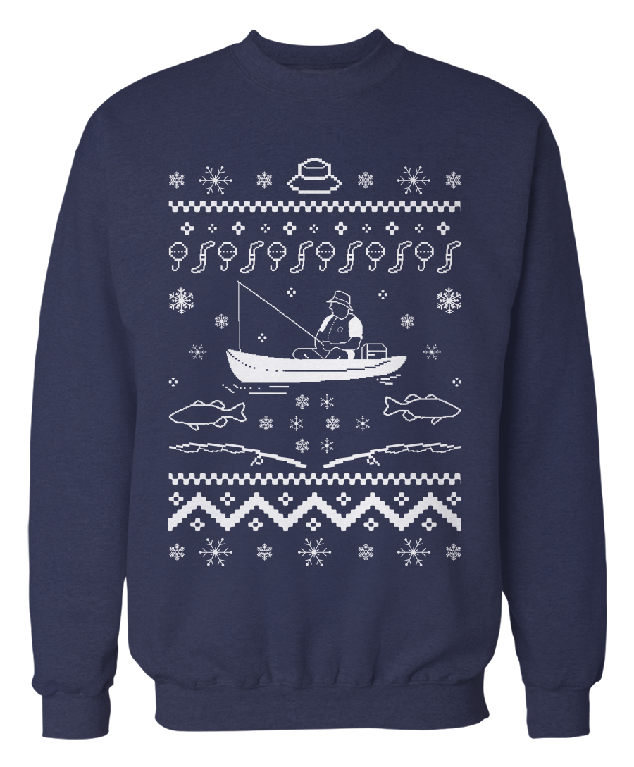 Ugly fishing sweater holiday apparel for Two fish apparel