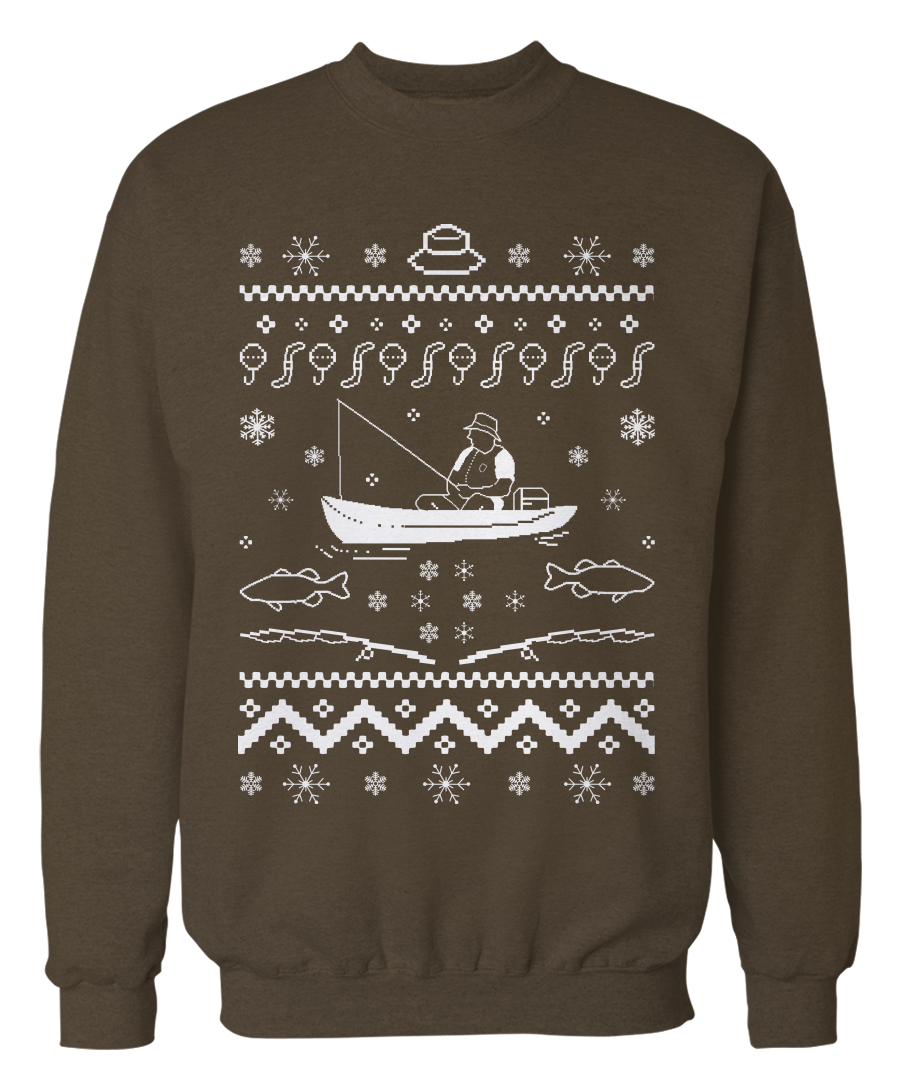 Ugly fishing sweater holiday apparel for Fishing christmas sweater