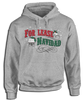 "For Lease Navidad Holiday Inspired Heavy Duty Grey Hoodie. Christmas themed hoodie with ""For Lease Navidad"" red and green printed design."