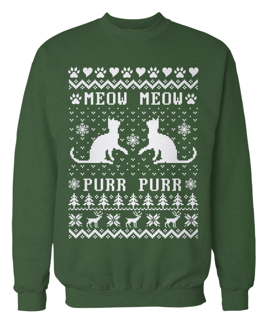 Cat Christmas Sweater.Meow Meow Purr Purr Cat Ugly Christmas Sweater Cute