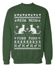 Meow Meow Purr Purr - Cat Ugly Christmas Sweater - Cute
