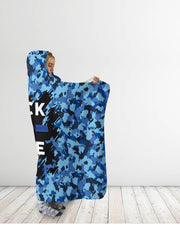 Camo Back The Blue Hooded Blanket