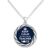 """Keep Calm Or I Will Use My Teacher Voice"" Round Twisted Rope Necklace"
