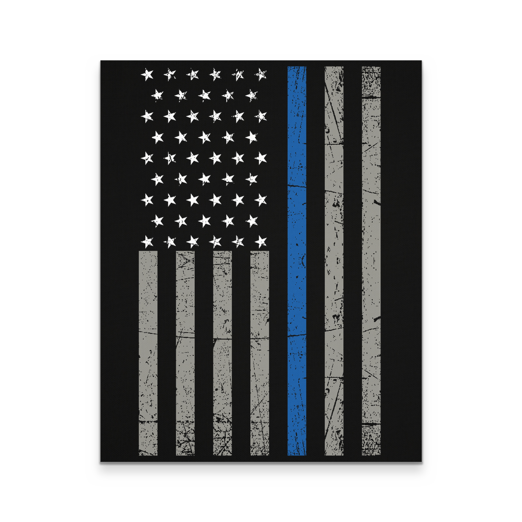 16x20 - Thin Blue Line Flag Canvas Wall Art