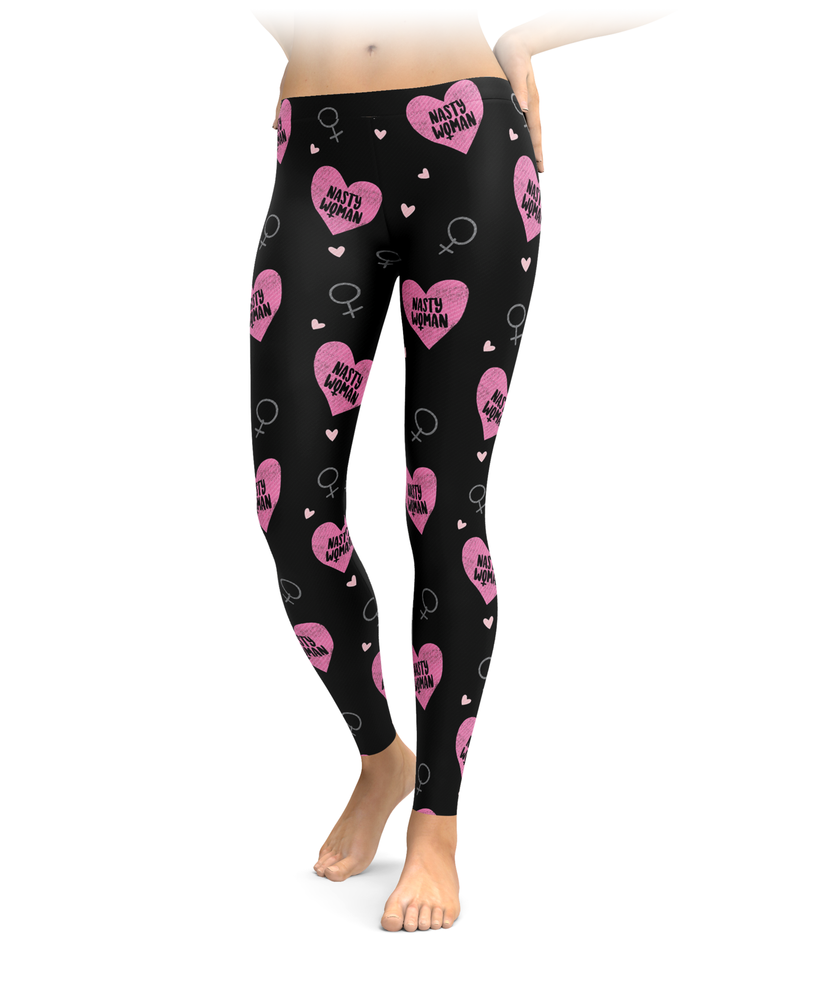 Nasty Woman Heart Leggings Black-8966
