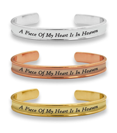 A Piece Of My Heart Is In Heaven Cuff Bracelet