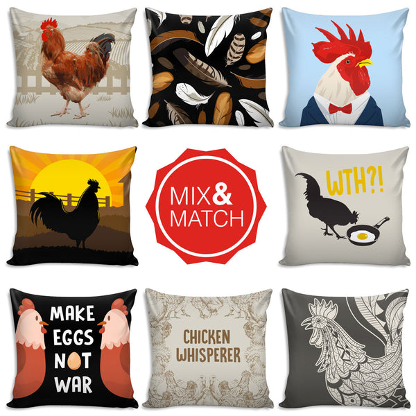Fresh Chicken & Rooster Throw Pillows HV45