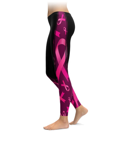 Breast Cancer Large Pink Ribbon Half Stripe Leggings