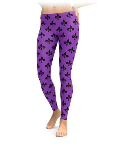 Purple & Black Fleur-De-Lis Leggings