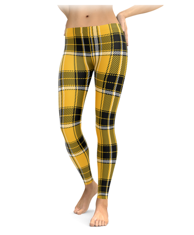 Black & Yellow Plaid Leggings
