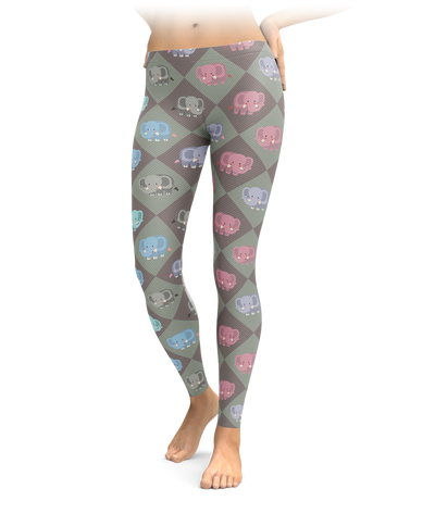Checkered Diamond Elephant Leggings