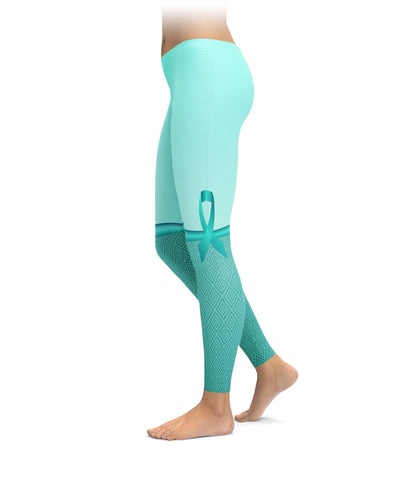 Ovarian Cancer Ribbon Knee Highs Leggings