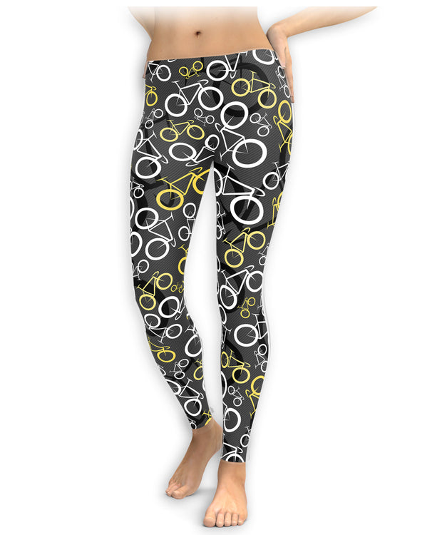 Yellow And White Bikes Leggings