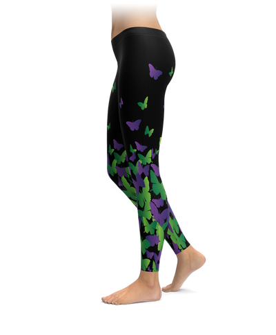 Purple & Green Butterfly Leggings