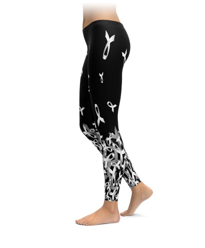 Lung Cancer Awareness Falling Ribbon Leggings