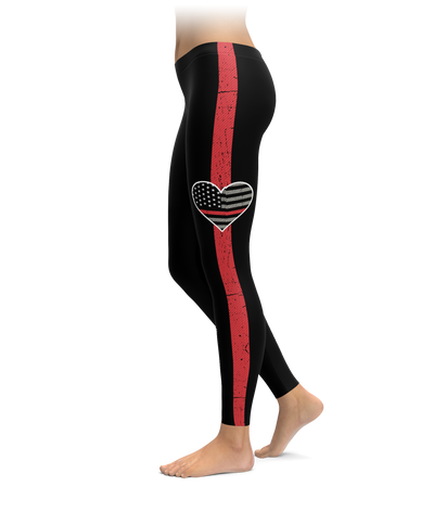 Thin Red Line Heart Stripe Leggings